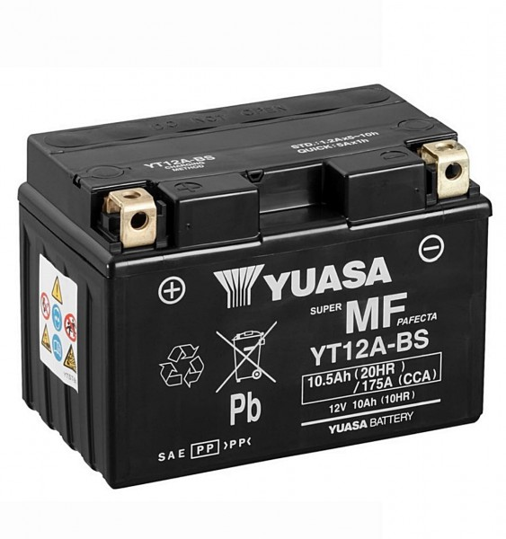 Yuasa YT12A-BS Batterie AGM 12V 10AH (YT12A-4, 12-12A-BS, GT12A-BS)