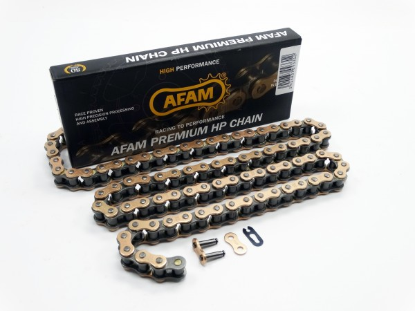 AFAM MX-G Kette 428 gold-schwarz - 122 Glieder - Clip Schloß - Motocross