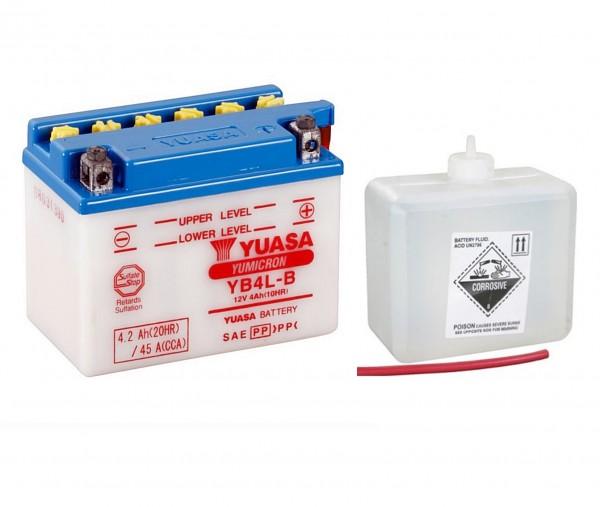 Yuasa YB4L-B Batterie 12V 4AH mit Säurepack (50411, GM4-3B, FB4L-B, 6I2P)
