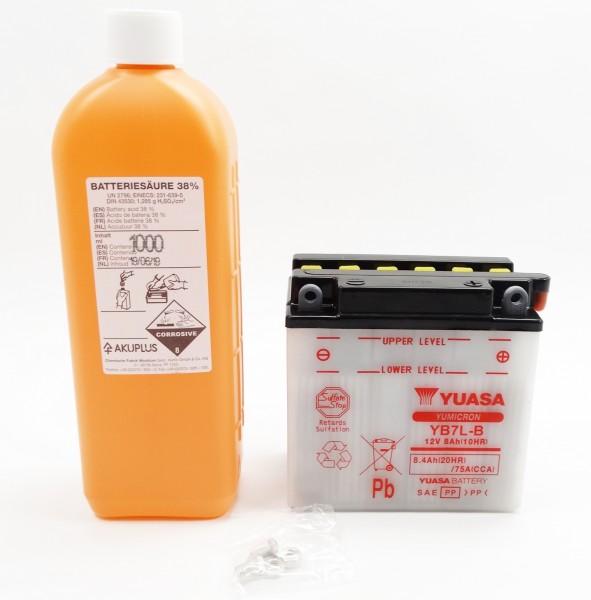 Yuasa YB7L-B Blei-Säure Batterie 12V 8AH mit Säurepack (12N7-3B)