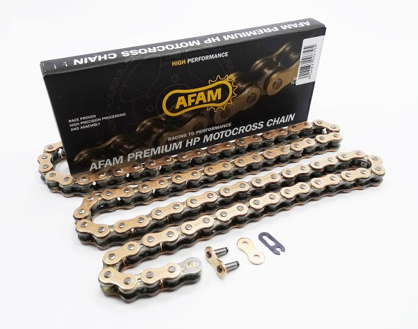 Afam MX4-G Kette 520 gold-schwarz 118 Glieder Clip Schloß Motocross