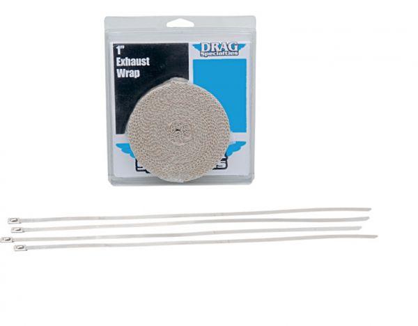 Drag Specialties Auspuffband Hitzeschutzband Set weiß 7,6 m x 25 mm