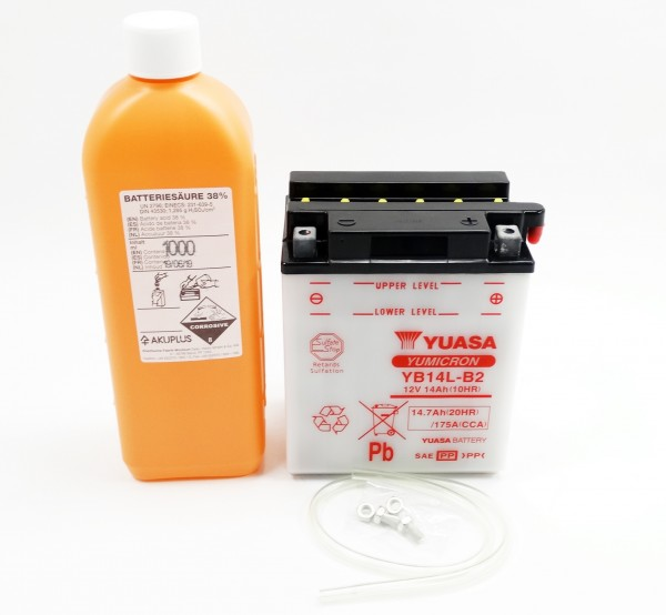 Yuasa YB14L-B2 Blei-Säure Batterie 12V 14AH mit Säurepack (CB14L-B2)