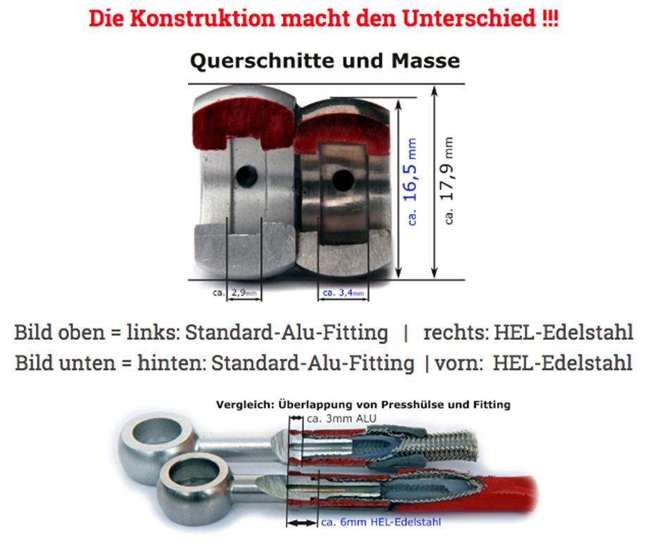 HEL Racing Stahlflex Bremsleitung Set /ohne ABS Suzuki GSX-R 1000 /R 2017-