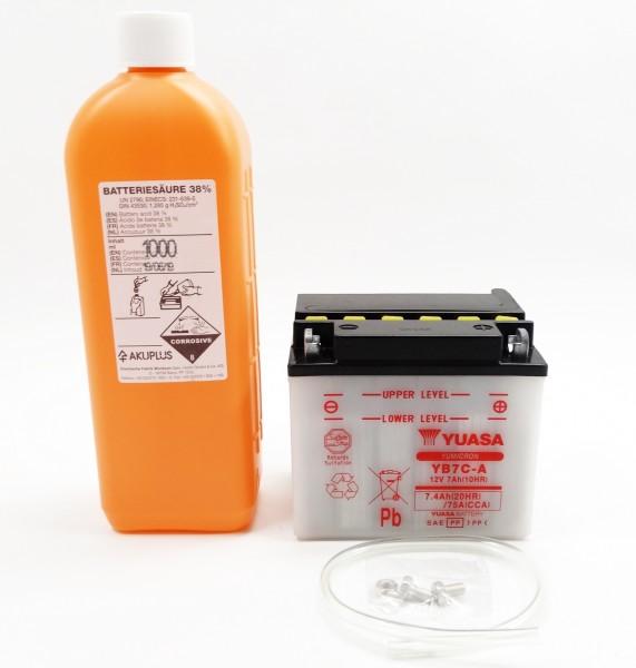 Yuasa YB7C-A Blei-Säure Batterie 12V 7AH mit Säurepack (CB7C-A)