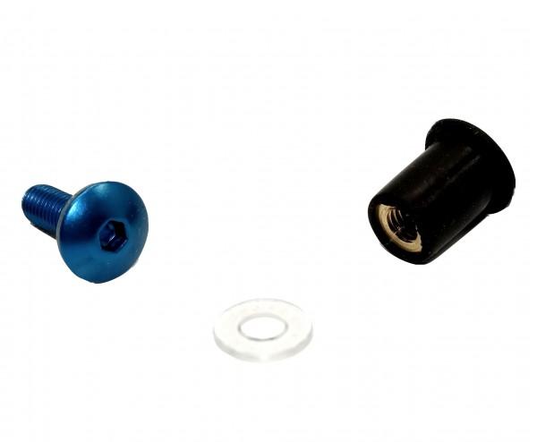 Racing M5x15 Verkleidungsschraube blau + Gummimutter