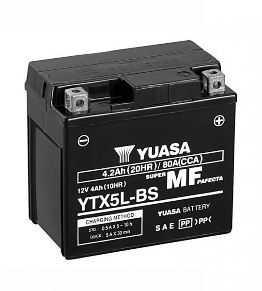Yuasa YTX5L-BS Batterie AGM 12V 4AH (GT6B-3, WP6B-3, FTX5L-BS, GTX5L-BS)